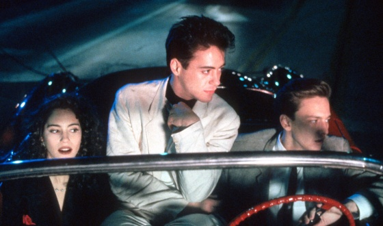 Press photo from the 1987 movie Less Than Zero starring Jami Gertz, Robert Downey Jr. and Andrew McCarthy