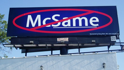McSame billboard bought in Florida by vasectomy doctor Douglas G. Stein