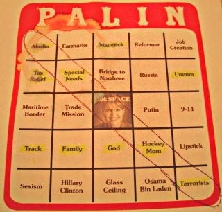Photo of winning Palin Bingo card by Dan Perry