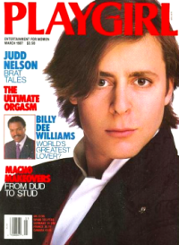 March 1987 cover of Playgirl Magazine featuring Judd Nelson