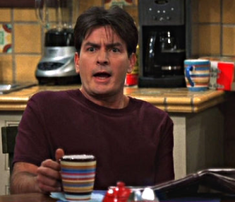 Two and a Half Men scene starring Charlie Sheen and a Sedona Earthenware coffee mug
