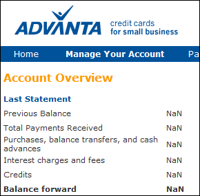 Advanta bank says I have NaN (not a number) dollars in my account
