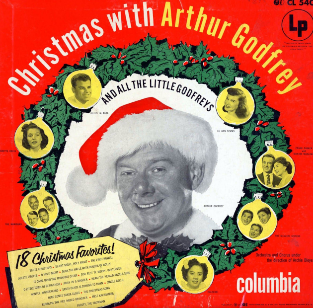 Cover of 1953 vinyl album Christmas with Arthur Godfrey and the Little Godfreys