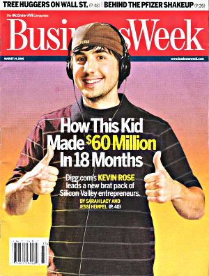 BusinessWeek cover of Digg founder Kevin Rose