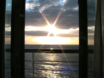 Disney Wonder cruise ship sunset