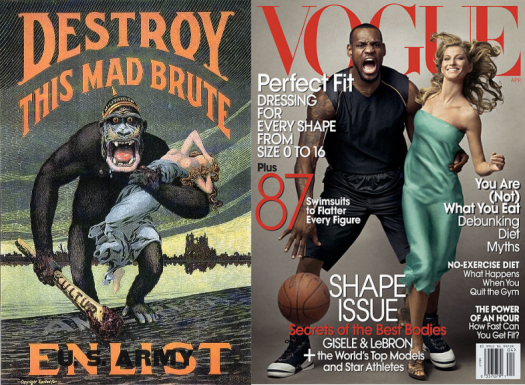 LeBron James and Gisele compared to Destroy This Mad Brute military recruitment poster