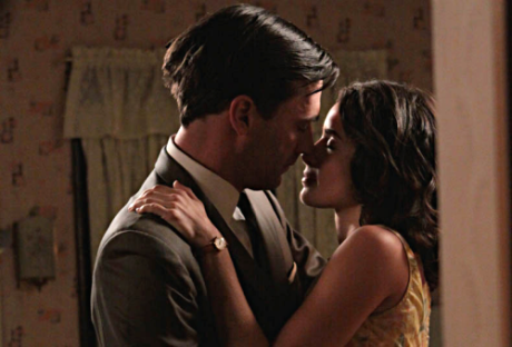Don Draper (Jon Hamm) and Suzanne Farrell (Abigail Spencer) on Mad Men