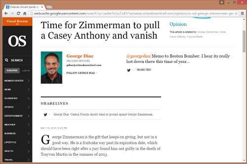 Screen shot of Orlando Sentinel column on George Zimmerman by George Diaz