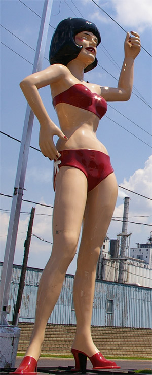 Vanna Whitewall, the giant bikini woman of Peoria, Illinois, who was once Miss Uniroyal