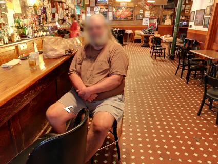 Google Street View inside Palmer's Bar sign in Minneapolis, Minnesota