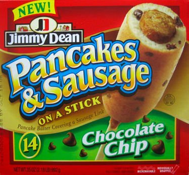 Jimmy Dean Pancakes and Sausage on a Stick, Chocolate Chip flavor, package