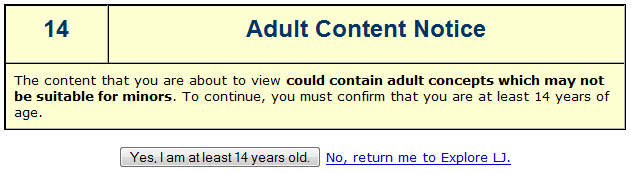 LiveJournal adult content notice warning