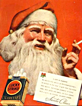 Santa Claus smokes Lucky Strikes