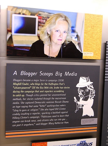 Mayhill Fowler display at the Newseum in Washington DC