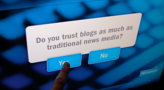 Survey question at the Newseum: Do you trust blogs as much as traditional news media?