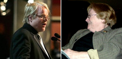 Philip Seymour Hoffman and his mother Marilyn O'Connor in separate photos.