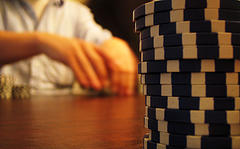 Poker table photograph by Adrian Sampson