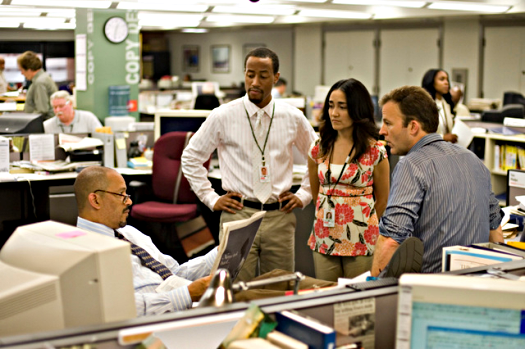 the fictional Baltimore Sun newsroom, season five of The Wire