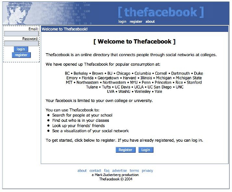 Early screenshot of Facebook from 1994